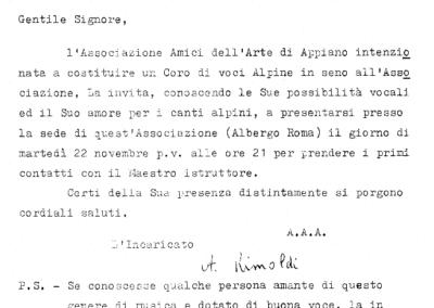 1966, Novembre - Lettera della prima convocazione